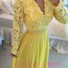 new fashion women long sleeves lace pearls chiffon prom dresses v