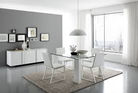 white modern dining table set matt table in white with glass top and leather chairs from italy
