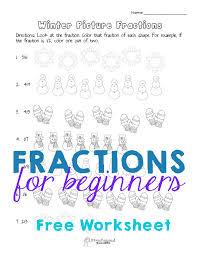basic fraction practice u2013 winter worksheet squarehead teachers