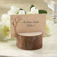 4 pc rustic wood stump place card holder se