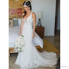 mermaid style wedding dress lace boho wedding dresses designer 2017 v neck