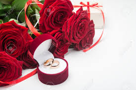 valentines day ring roses with wedding rings day background