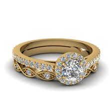 ring sets cut diamond wedding ring sets in 14k yellow gold
