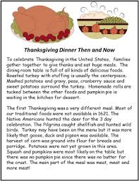 thanksgiving dinner reading and math worksheets