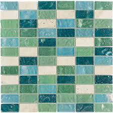 shop elida ceramica minty brick straight stack mosaic stone and