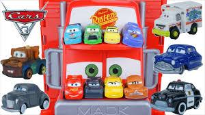 funny disney cars 3 tiny mini racers huge mack hauler jackson