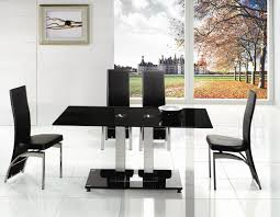 extending black glass dining table and 6 chairs set i54 about