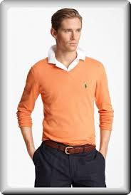 ralph lauren men u0027s orange cashmere v neck polo neck sweater at