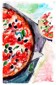 pizza food art diptych original watercolor and ink by ginette callaway