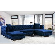 Blue Velvet Sectional Sofa Blue Velvet Sectional Sofas You Ll Wayfair