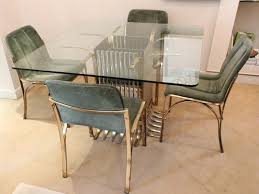 italian glass dining table with four chairs 1970 for sale at pamono