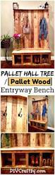 your own pallet hall tree or pallet wood entryway bench
