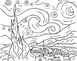 starry night coloring page kids think they are coloring i think