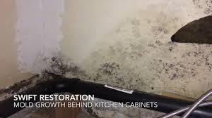 Restoration Kitchen Cabinets Mold Growth Behind Kitchen Cabinets Youtube
