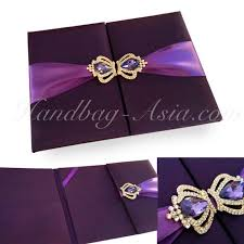 eggplant ribbon eggplant color silk wedding folder with crown brooches and purple