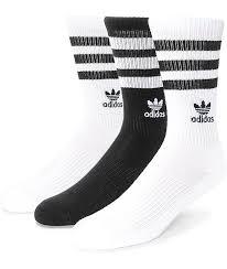 adidas roller black white crew socks 3 pack zumiez