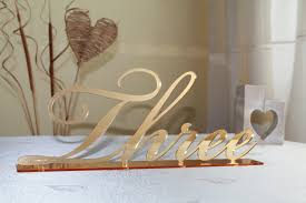 Table Numbers Wedding Gold Mirror Table Numbers Large Cursive Freestanding Script