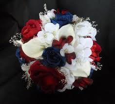 Red Flag White Flower Red Blue White Bridal Bouqeut American Flag Bouquet Red