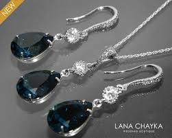 blue crystal necklace set images Navy blue crystal bridal jewelry set earring necklace dark blue jpg