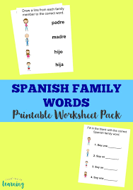 spanish family members worksheet pack