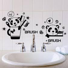 black color panda brush teeth toilet stickers vinyl material