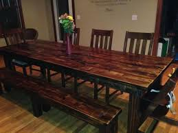 Farm Table With Bench And Chairs 8ft Long Farmhouse Dining Table All Wood In Vintage Dark Walnut