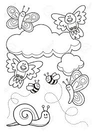 bee and butterfly coloring pages