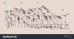 steep mountain scenery sketch hand drawing stock vector 281990909