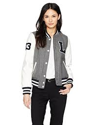light bomber jacket womens levi s women s mixed media letterman bomber jacket at amazon women s