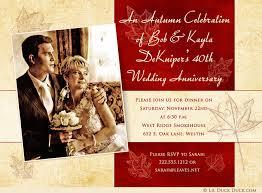 40th anniversary invitations 40th anniversary invitations ruby leaf wedding