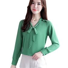 bow tie blouse plus size 2017 autumn fashion slim bow tie shirt ol career formal
