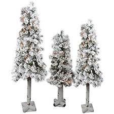 set of 3 flocked woodland alpine artificial