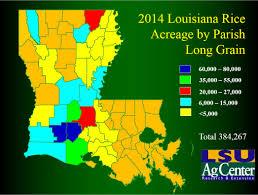 Louisiana Parish Map by Rice Acreage Maps
