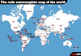 Maps Good The Extremely Offensive Google Autocomplete Map Of World Indy100