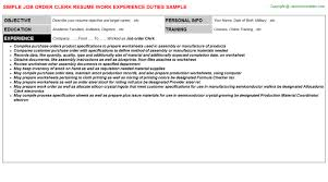 Chronological Order Resume Example by Job Order Clerk Resume Sample