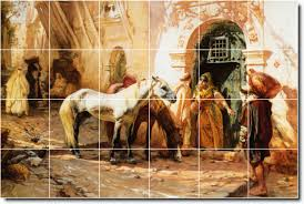 frederick bridgman horses backsplash tile mural loading zoom