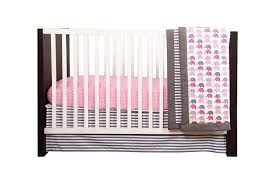 amazon com elephants pink grey 10 pc crib set including bumper