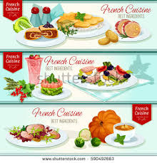 la cuisine restaurant cuisine restaurant dinner dishes banners เวกเตอร สต อก