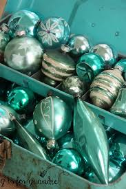glass ornaments in toolbox aqua theme