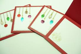 card set of 4 festive ornament cards and