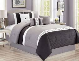 White Bed Set Queen Piece Quilted Black Gray White Comforter Set