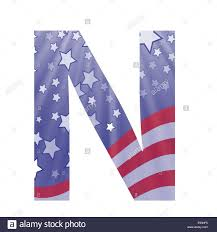 American Flag In Text Colorful Illustration With American Flag Letter N On A White Stock