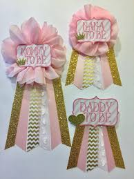 baby shower for to be pink and gold baby shower pin to be pin flower ribbon