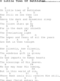 christmas carol song lyrics with chords for o little town of bethlehem