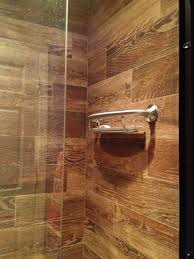 simple wood tile bathroom shower on small home remodel ideas with