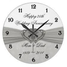 anniversary clock gifts silver wedding anniversary wall clocks zazzle