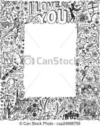 clipart vector of vector sketch frame background with love story