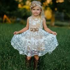 flower girl dress buy a line white lace flower girl dress with flowers flower