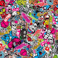 graffiti design stickerbomb foil graffiti design 1 roll 60x200cm self