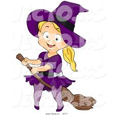 halloween graphic art vector of a halloween cartoon witch riding a broomstick by
